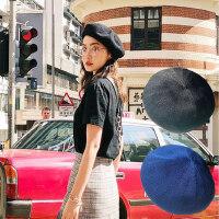 户外防晒出游软妹画家帽女 薄款帽子遮阳帽女士贝雷帽 新款纯色报童帽