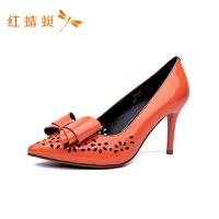 红蜻蜓女鞋新款时尚透气舒适靓丽休闲简约尖头细跟高跟单鞋