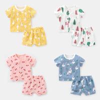 婴儿衣服棉纱布短袖套装夏装幼儿男童女宝宝外出服两件套