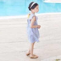 韩版夏季女童装条纹沙滩裙海边度假女大童背心裙儿童无袖连衣裙子