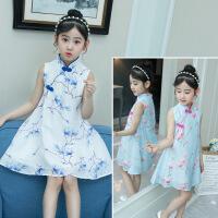 夏中国风表演出服夏季幼儿园小学生公主裙子儿童青花瓷连衣裙女童
