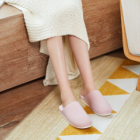 时尚厚底棉拖鞋冬季情侣防滑软底地板日式家居拖鞋女家用秋冬室内