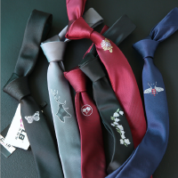 刺绣休闲青年结婚新郎伴郎领带男士绣花韩版英伦窄式5CM潮人领带