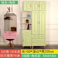 宝宝衣柜小衣柜收纳柜实木板式婴儿经济型卧室抽屉式卡通卧室 青色 绿色100+顶柜 2门