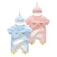 婴儿连体衣服宝宝新生儿春季爬爬服0岁6个月短袖哈衣春款
