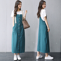 短袖吊带裙长裙女2018夏季新款时尚休闲套装背带连衣裙两件套裙子