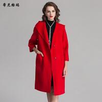 秋冬新款女士七分袖连帽时尚长款外套双面羊毛呢大衣女装M-616338