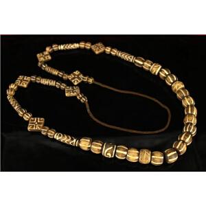 藏寺院收老木化石天珠项链一条