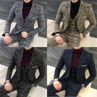 呢料厚款男士西服套装韩版修身小西装三件套新郎结婚礼服伴郎大码