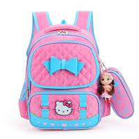 漂亮书包 韩版6-8岁1-3一年级书包女孩子小学生女生小朋友可爱双肩儿童背包 KT猫款 黑色 有笔袋+娃娃