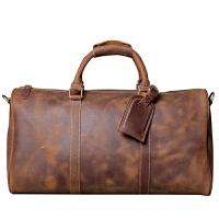 头层牛皮旅行包男大容量行李袋手工原创真皮欧美复古疯马皮手提包 大