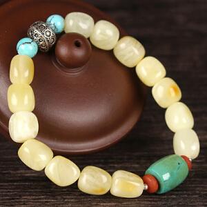 珍稀 白蜜蜡原石创意DIY手串 配松石桶珠
