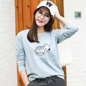 秋冬季新款女装秋装韩版宽松长袖T恤女百搭卡通印花外穿打底衫上衣