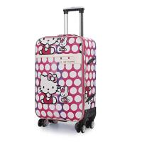 卡通万向轮美女拉杆箱24寸学生密码旅行拖箱男女图案行李皮箱潮包 玫红色 玫红色KT猫款