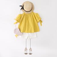 女童上衣 童装2018新款夏装女童吊带露肩T恤 宝宝波浪纹裙衣 黄色