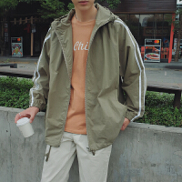 港风男装外套 韩版学院青少年春季新款背后英文夹克宽松连帽衫