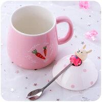 创意个性杯子陶瓷杯水杯女学生韩版韩国可爱清新大肚马克杯带盖勺