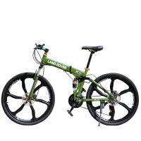 山地车26寸一体轮自行车双减震21速双碟刹折叠变速自行车