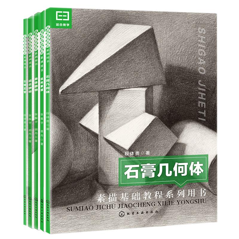 素描基础教程(套装5册) 石膏几何体、结构素描、单体静物、组合静物、石膏五官,美术特长生入门规范用书