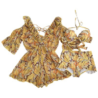 游泳衣女分体裙式小胸钢托比基尼三件套遮肚性感韩国温泉泳装 树叶黄 X
