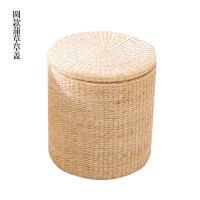 草编实木收纳凳储物凳子藤编换鞋凳沙发凳化妆凳可坐人坐箱 蒲草纯色 圆形 草盖