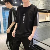 男士夏季套装休闲运动男装短袖T恤韩版帅气修身两件套潮流上衣服
