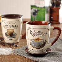 欧式简约大咖啡杯套装带盖带勺 创意水杯陶瓷杯子个性马克杯
