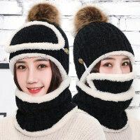 帽子女冬天韩版毛线帽围脖套装加绒加厚针织帽骑车防风护耳保暖帽新品 均码弹性(三件套)加绒加厚