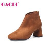 高蒂弹力靴女欧美风方头粗跟短靴英伦绒面袜子靴时尚高跟鞋靴子女