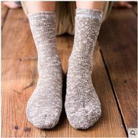 袜子男士纯棉袜毛圈秋冬季加厚保暖中筒复古粗线秋冬款毛巾加绒潮