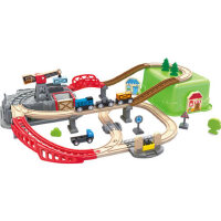 Hape小火车轨道小镇运输收纳套儿童益智玩具礼物木制模型套装
