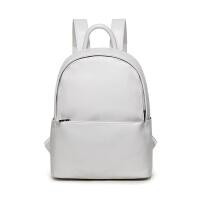韩版夏季新款皮质双肩包女防水电脑包背包大学生书包旅行包大容量 米白色 可装13寸电脑A4本