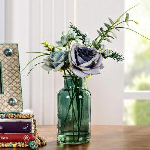 奇居良品 家居饰品仿真花摆件 瑞雅蓝色玫瑰配玻璃花瓶整体花艺