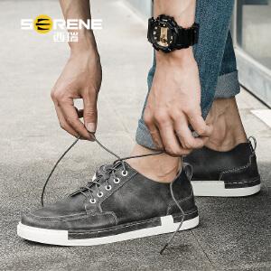 西瑞板鞋男生韩版青年潮流低帮休闲鞋夏季新款男鞋子透气皮鞋6335