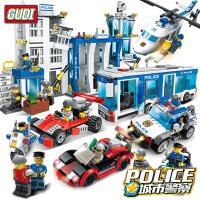 一号玩具 古迪积木警察局城市警察系列警察飞机汽车拼插积木玩具男孩6岁