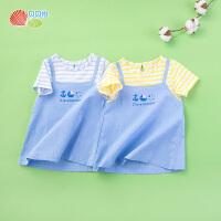 【99元3件】贝贝怡女童短袖上衣夏季新款纯棉海军风薄款T恤192Q143