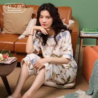 轩之婷 睡衣女夏短袖七分裤纯棉月子服夏季薄款全棉产后4月份家居服套装