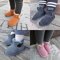 mini旦冬季皮毛一体宝宝雪地靴儿童加绒保暖短靴子婴幼儿童学步鞋