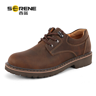 西瑞休闲皮鞋男士内增高工装鞋新款英伦潮男鞋6277真皮工装鞋
