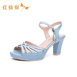 红蜻蜓春秋新款凉鞋优雅防水台凉鞋露趾粗跟女凉鞋