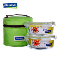 glasslock三光云彩钢化玻璃保鲜盒 创意饭盒 2件套装GL66