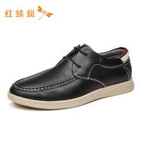 红蜻蜓男鞋时尚软皮软底皮鞋英伦男韩版牛皮商务正装休闲鞋