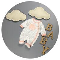 连体衣新生儿春秋纯棉男女宝宝哈衣0-3-6-9个月婴儿开衫爬爬服潮2