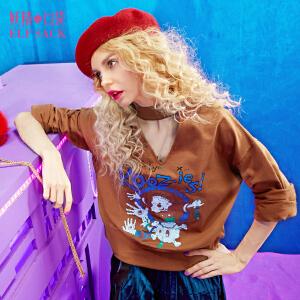 【尾品汇大促】妖精的口袋百搭T恤女热血少女春秋装新款喇叭袖复古镂空领长袖T恤女
