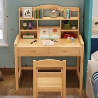实木学习桌可升降书桌小学生写字桌椅套装松木家用课桌椅 D款环保清漆120*50*75一套 纯实木 加厚桌