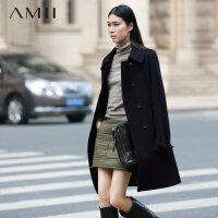 【反季毛呢特卖价:80】Amii[极简主义]冬A型双排扣翻领羊毛中长款毛呢子外套女11541248