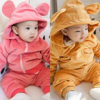 女婴儿衣服冬季0岁6个月3男宝宝长袖套装4新生儿小童秋冬装两件套