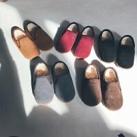 羊羔毛奶奶鞋 史豌豆定制童鞋女秋冬加厚女宝宝棉鞋儿童反绒皮鞋