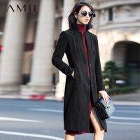 【券后价:80】Amii[极简主义]冬纯色立领花苞型修身大码长毛呢外套11582094