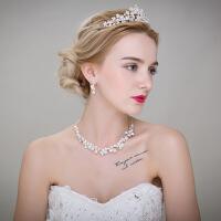 新娘配饰新款韩式结婚头饰影楼拍婚纱照皇冠项链耳环三件套装饰品 图片色 均码
